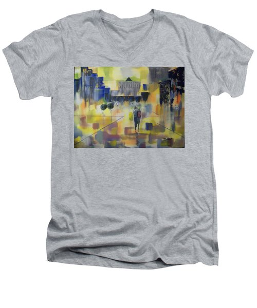 Abstract Stroll Men's V-Neck T-Shirt by Raymond Doward
