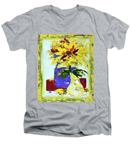 Abstract Sunflower Men's V-Neck T-Shirt