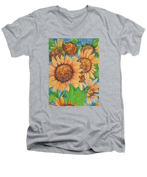 Men's V-Neck T-Shirt featuring the painting Abstract Sunflowers by Chrisann Ellis