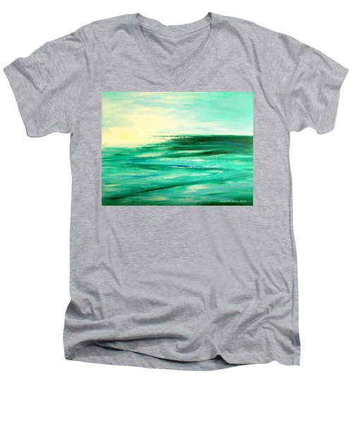 Abstract Sunset In Blue And Green Men's V-Neck T-Shirt