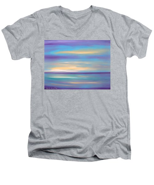 Abstract Sunset In Purple Blue And Yellow Men's V-Neck T-Shirt