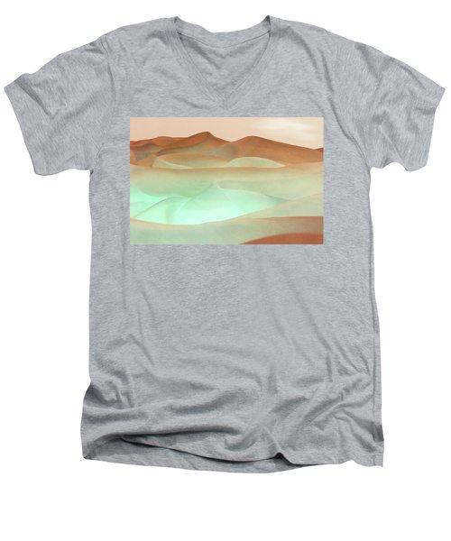 Abstract Terracotta Landscape Men's V-Neck T-Shirt by Deborah Smith