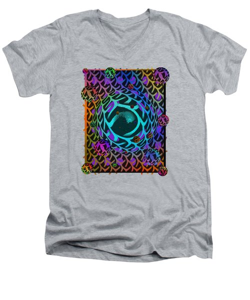 Men's V-Neck T-Shirt featuring the digital art Abstract - The Fabric Of Life by Glenn McCarthy Art and Photography