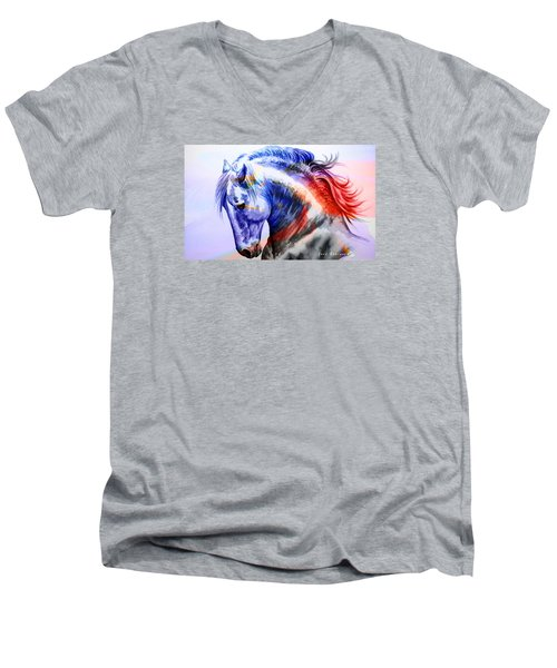 Men's V-Neck T-Shirt featuring the painting Abstract White Horse 44 by J- J- Espinoza