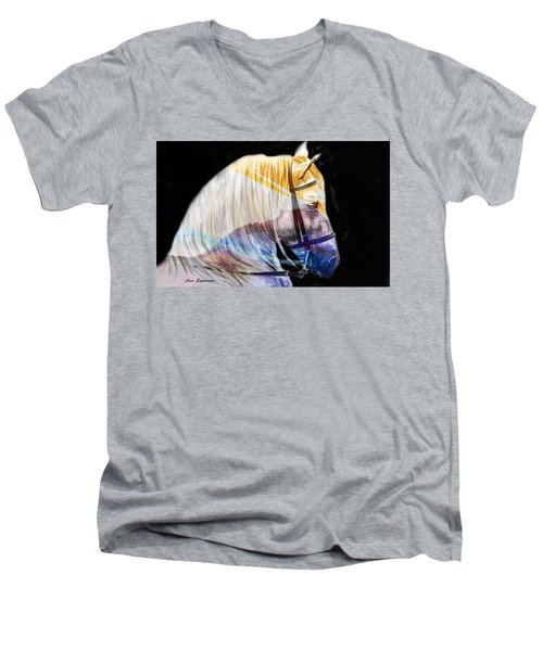 Men's V-Neck T-Shirt featuring the painting Abstract White Horse 50 by J- J- Espinoza
