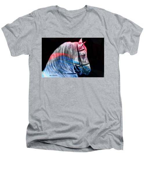 Men's V-Neck T-Shirt featuring the painting Abstract White Horse 53 by J- J- Espinoza
