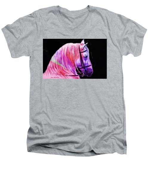 Men's V-Neck T-Shirt featuring the painting Abstract White Horse 56 by J- J- Espinoza