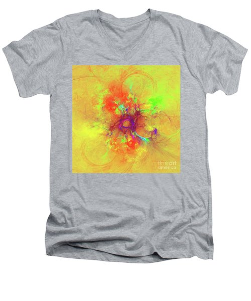 Men's V-Neck T-Shirt featuring the digital art Abstract With Yellow by Deborah Benoit
