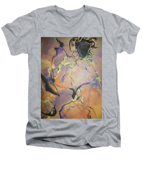 Abstract Woman Men's V-Neck T-Shirt by Raymond Doward