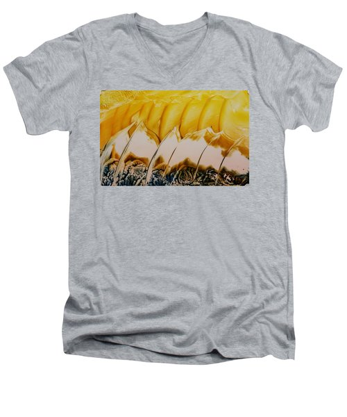 Abstract Yellow, White Waves And Sails Men's V-Neck T-Shirt