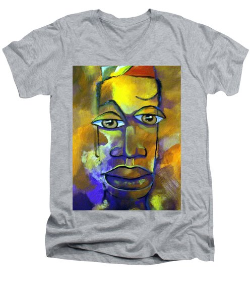 Abstract Young Man Men's V-Neck T-Shirt by Raymond Doward