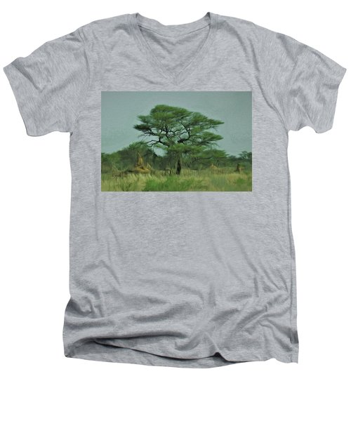 Acacia Tree And Termite Hills Men's V-Neck T-Shirt by Ernie Echols