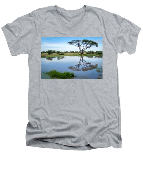 Acacia Tree Reflection Men's V-Neck T-Shirt