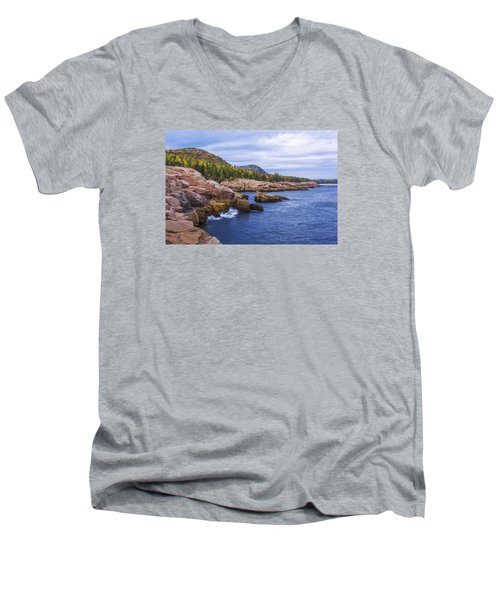Men's V-Neck T-Shirt featuring the photograph Acadia's Coast by Chad Dutson
