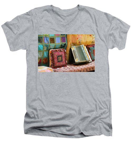 Accordion  With Colorful Pillows Men's V-Neck T-Shirt by Yoel Koskas