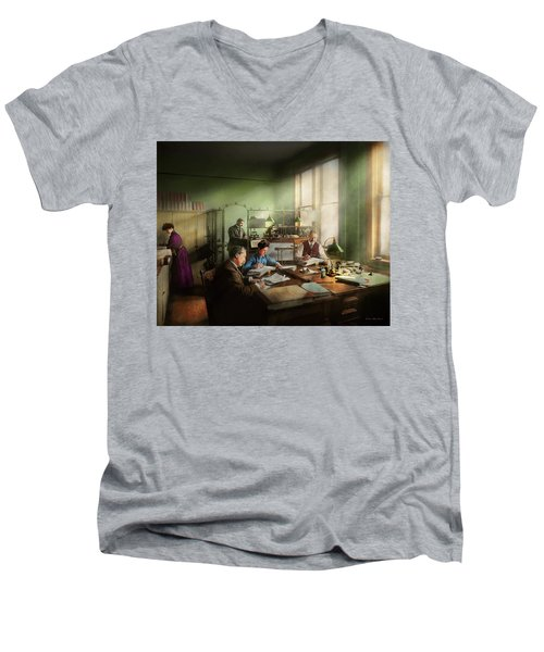 Men's V-Neck T-Shirt featuring the photograph Accountant - The- Bookkeeping Dept 1902 by Mike Savad