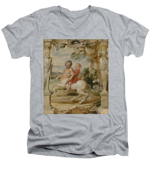 Achilles Educated By The Centaur Chiron Men's V-Neck T-Shirt