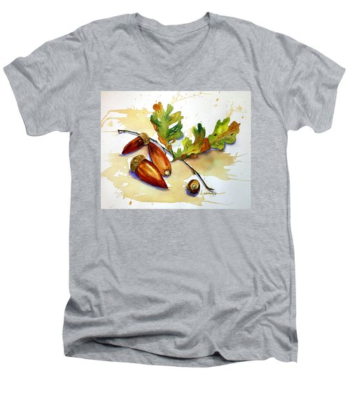 Acorns And Leaves Men's V-Neck T-Shirt