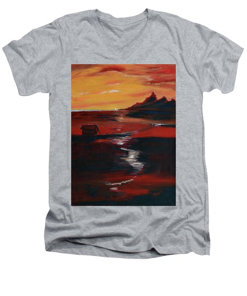 Across Amber Fields To The Sea Men's V-Neck T-Shirt by Donna Blackhall