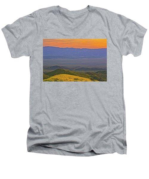Across The Carrizo Plain At Sunset Men's V-Neck T-Shirt