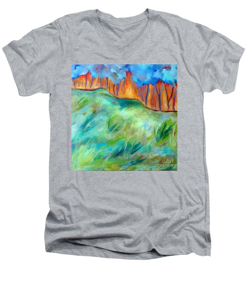 Across The Meadow Men's V-Neck T-Shirt by Elizabeth Fontaine-Barr