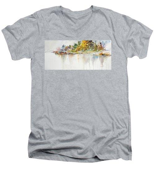 Across The Pond Men's V-Neck T-Shirt by P Anthony Visco