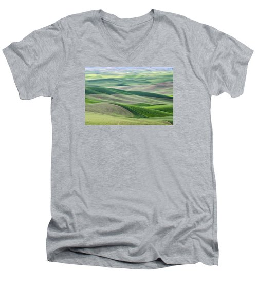 Men's V-Neck T-Shirt featuring the photograph Across The Valley by Wanda Krack
