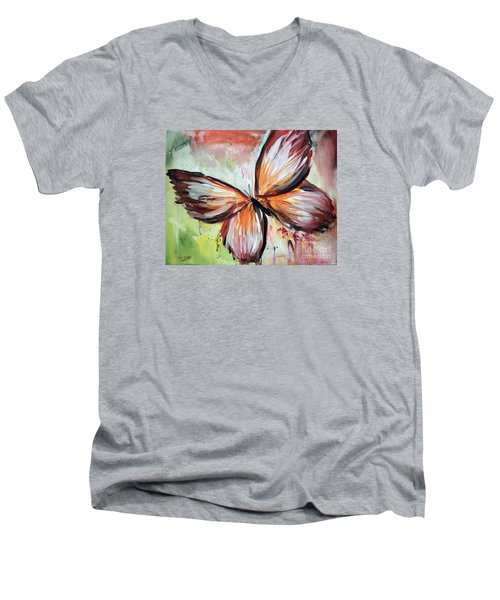 Men's V-Neck T-Shirt featuring the painting Acrylic Butterfly by Tom Riggs