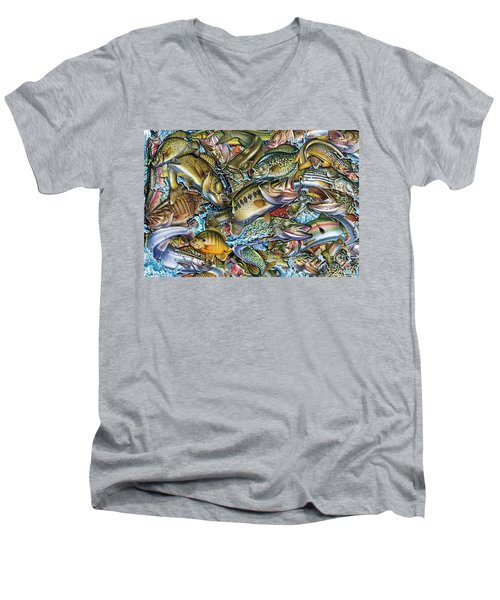 Men's V-Neck T-Shirt featuring the painting Action Fish Collage by Jon Q Wright JQ Licensing