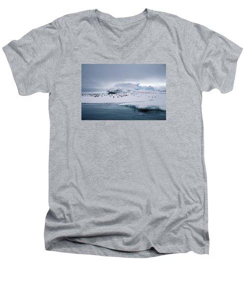 Adelie Penguins On Iceberg Weddell Sea Men's V-Neck T-Shirt by Brian Lockett
