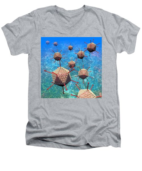 Adenovirus Particles 3 Men's V-Neck T-Shirt