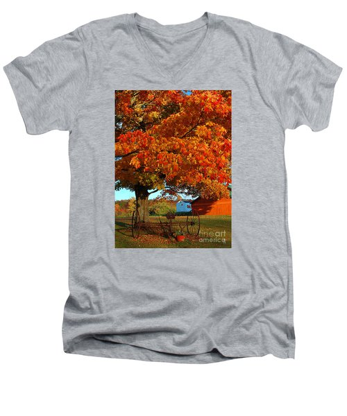 Men's V-Neck T-Shirt featuring the photograph Adirondack Autumn Color by Diane E Berry