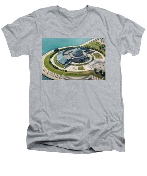 Men's V-Neck T-Shirt featuring the photograph Adler Planetarium Aerial by Adam Romanowicz