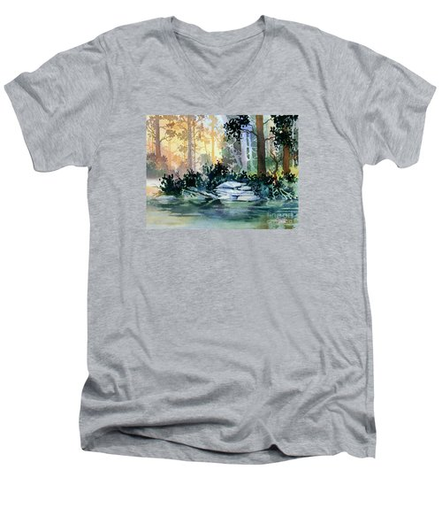 Men's V-Neck T-Shirt featuring the painting Admiralty Island by Teresa Ascone