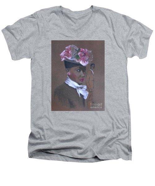 Admirer, 1947 Easter Bonnet -- The Original -- Retro Portrait Of African-american Woman Men's V-Neck T-Shirt