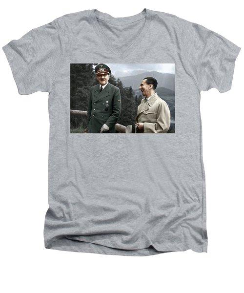 Adolf Hitler Joseph Goebbels Berghof Retreat  Number 2 Agfacolor Heinrich Hoffman Photo Circa 1942 Men's V-Neck T-Shirt