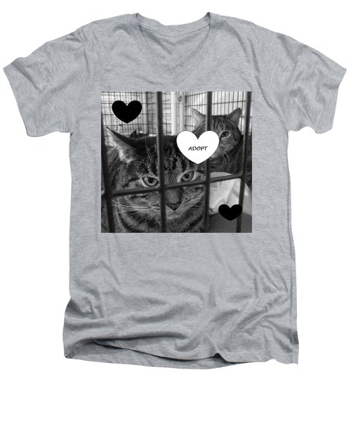 Adopt Men's V-Neck T-Shirt by Mary Ellen Frazee