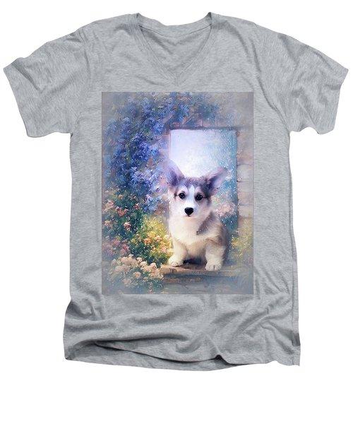 Adorable Corgi Puppy Men's V-Neck T-Shirt