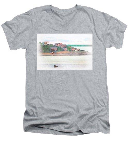 Adrift On The Bay At Sunset Men's V-Neck T-Shirt