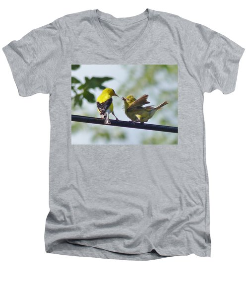 Adult And Juvenile American Goldfinch Men's V-Neck T-Shirt