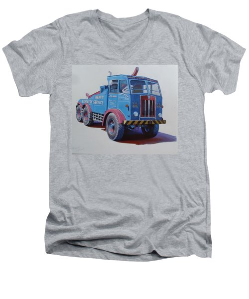 Men's V-Neck T-Shirt featuring the painting Aec Militant Lloyds by Mike Jeffries