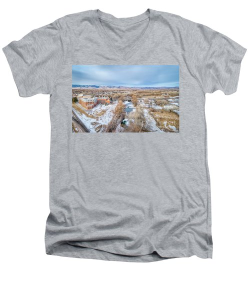 aerial cityscape of Fort Collins Men's V-Neck T-Shirt