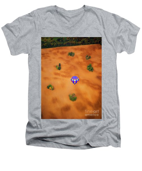 Aerial Of Hot Air Balloon Above Tilled Field Fall Men's V-Neck T-Shirt