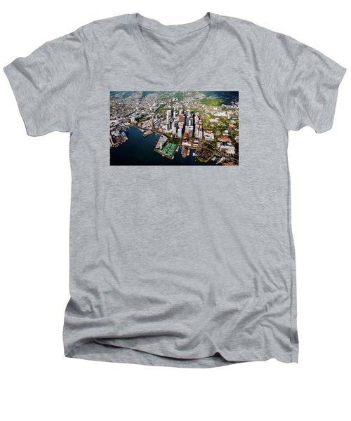 Aerial Panorama - Downtown - City Of Honolulu, Oahu, Hawaii  Men's V-Neck T-Shirt