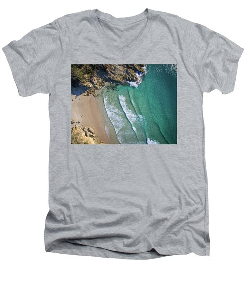 Aerial Shot Of Honeymoon Bay On Moreton Island Men's V-Neck T-Shirt