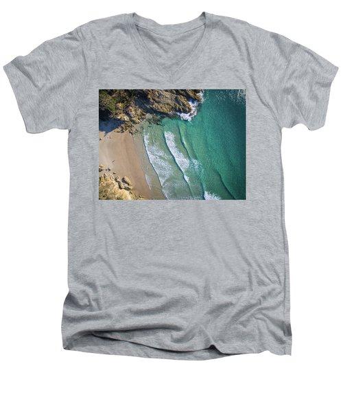 Aerial Shot Of Honeymoon Bay On Moreton Island Men's V-Neck T-Shirt
