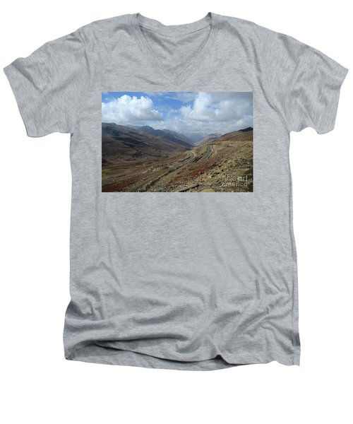 Aerial Shot Of Mountainous Karakoram Highway Babusar Pass Pakistan Men's V-Neck T-Shirt