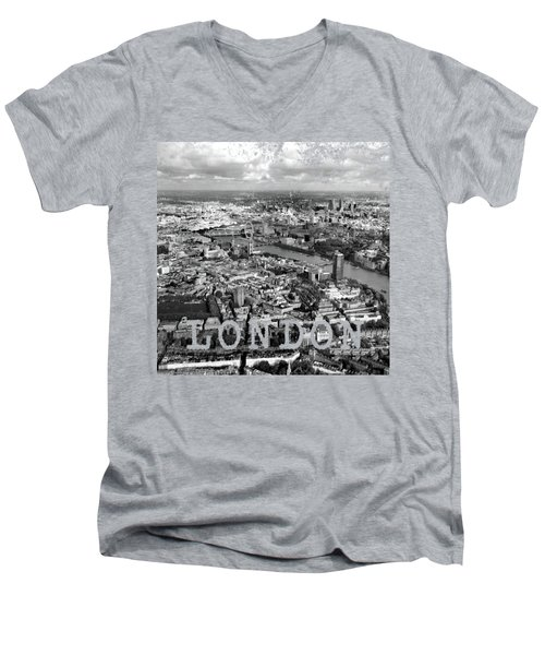 Aerial View Of London Men's V-Neck T-Shirt by Mark Rogan
