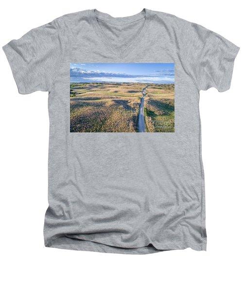aerial view of Nebraska Sandhills  Men's V-Neck T-Shirt