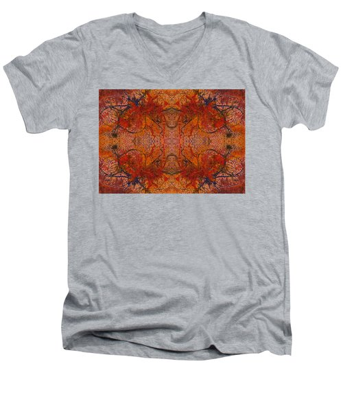 Aflame With Flower Quad Hotwaxed Version Of Acrylic/watercolour Men's V-Neck T-Shirt